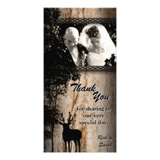 Wedding Thank You Photo Card Rustic Country Deer