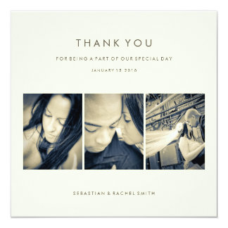 """WEDDING THANK YOU PHOTO CARD: SIMPLE CHIC 5.25"""" SQUARE INVITATION CARD"""