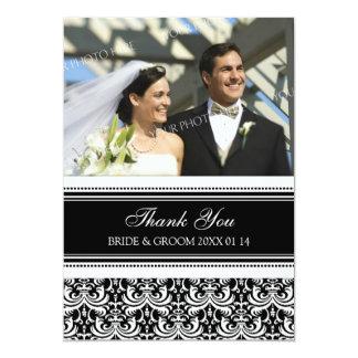 Wedding Thank You Photo Cards Black Damask