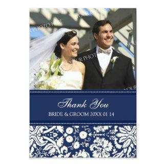 Wedding Thank You Photo Cards Blue Damask