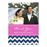 Wedding Thank You Photo Cards Blue Pink Chevron