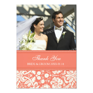 Wedding Thank You Photo Cards Coral Damask