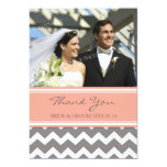 Wedding Thank You Photo Cards Coral Grey Chevron