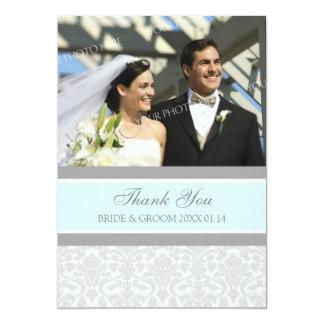 Wedding Thank You Photo Cards Gray Damask