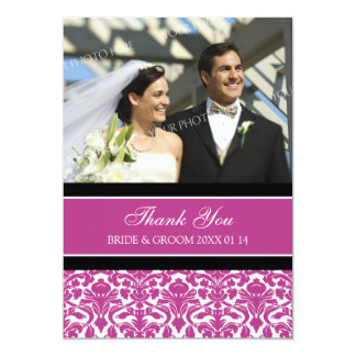 Wedding Thank You Photo Cards Hot Pink Damask