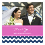 Wedding Thank You Photo Cards Pink Blue Chevron