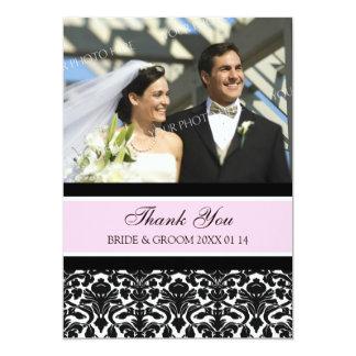 Wedding Thank You Photo Cards Pink Damask