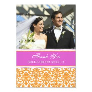 Wedding Thank You Photo Cards Pink Orange Damask