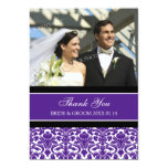 Wedding Thank You Photo Cards Plum Damask
