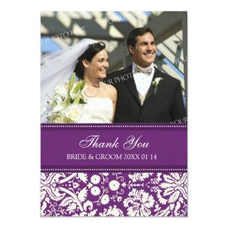 Wedding Thank You Photo Cards Plum Damask