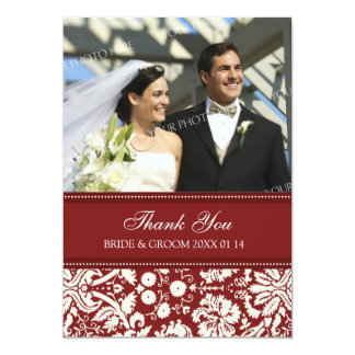 Wedding Thank You Photo Cards Red Damask