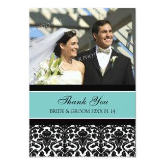 Wedding Thank You Photo Cards Teal Damask