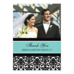 "Wedding Thank You Photo Cards Teal Damask 5"" X 7"" Invitation Card"