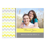 Wedding Thank You Photo Cards Yellow Gray Chevron