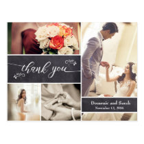 Wedding Thank You photo collage chalkboard Postcard