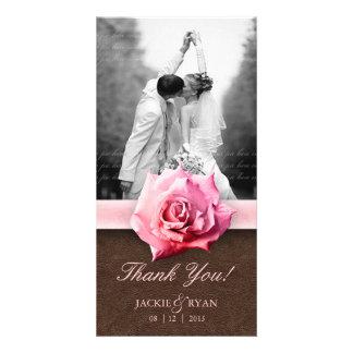 Wedding Thank You Photocard Rose Damask Leather Photo Card