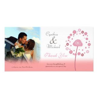 Wedding Thank You Pink Dandelion Photo Card