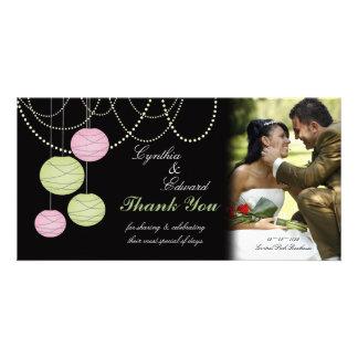 Wedding Thank You Pink Green Lanterns Photo Card