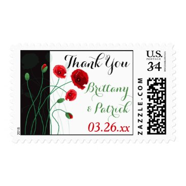 Wedding Thank You Postage | Red Poppies