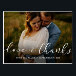"""Wedding Thank You Postcard<br><div class=""""desc"""">Share gratitude with your wedding guests for celebrating your big day. These customizable,  beautiful,  handwritten font wedding photo thank you cards are a perfect way to send your thanks. Add in your own photo,  edit the return address and add a special message or leave it blank.</div>"""