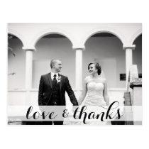 Wedding thank you postcard, love & thanks postcard