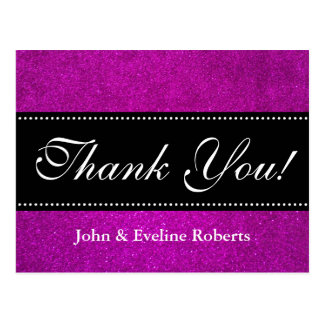 Wedding thank you postcards   faux pink glitter