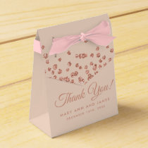 Wedding Thank You Rose Gold Glitter Confetti Blush Favor Box