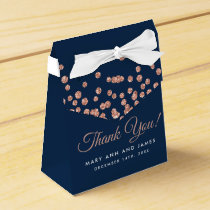 Wedding Thank You Rose Gold Glitter Confetti Navy Favor Box