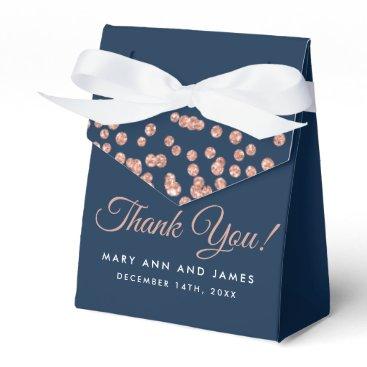 Wedding Themed Wedding Thank You Rose Gold Glitter Confetti Navy Favor Box