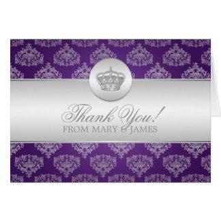 Wedding Thank you Royal Crown Purple Cards