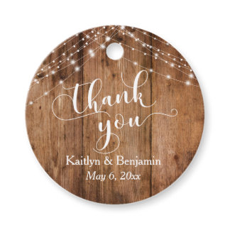 Wedding Thank You Rustic Wood & Light Strings Favor Tags