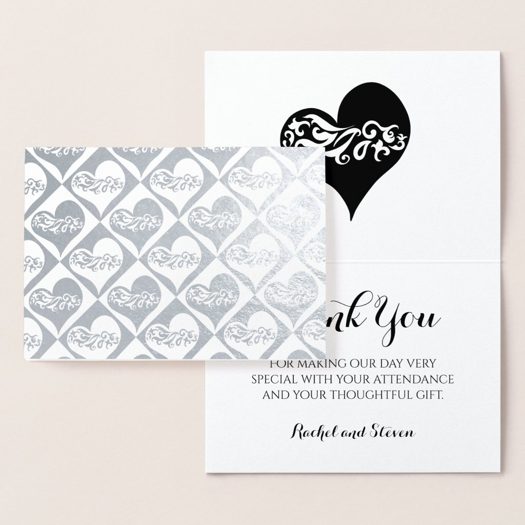 Wedding thank you silver hearts pattern foil card