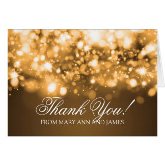 "Wedding ""Thank you"" Sparkling Lights Gold Greeting Card"