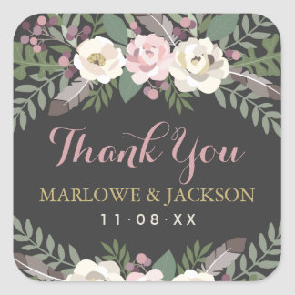 Wedding Thank You Stickers | Fall Vintage Boho