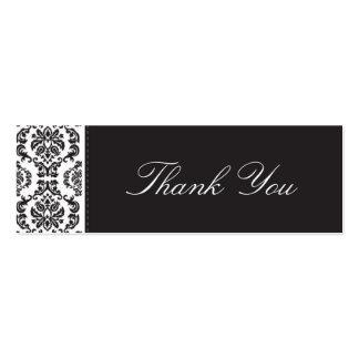 WEDDING thank you tag damask - black 2 Business Card Templates