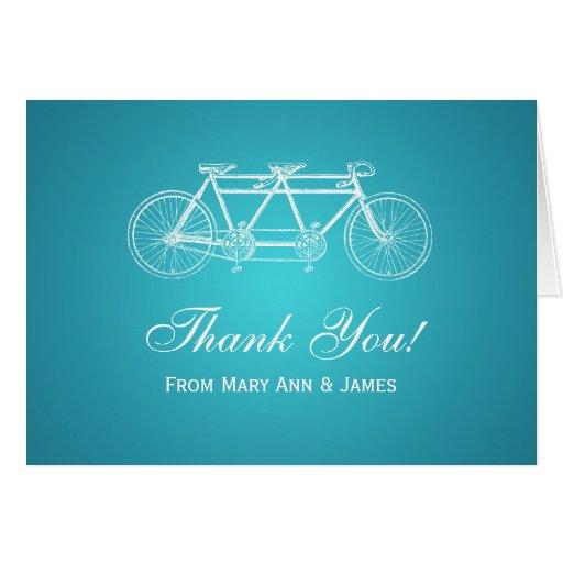 "Wedding ""Thank you"" Tandem Bike Turquoise Card"