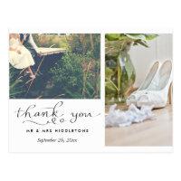 Wedding Thank You Typography | Two Photos Postcard