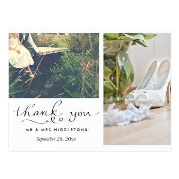 ohwhynotweddings Wedding Thank You Typography   Two Photos Postcard