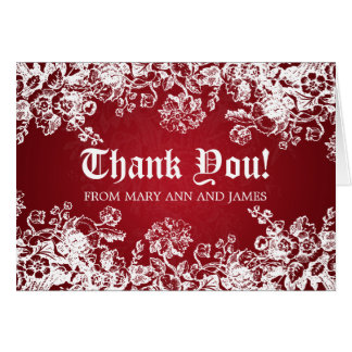 "Wedding ""Thank you"" Victorian Flourish Red Card"