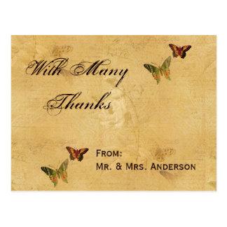 Wedding Thank You Vintage Damask Beige Butterfly Postcards