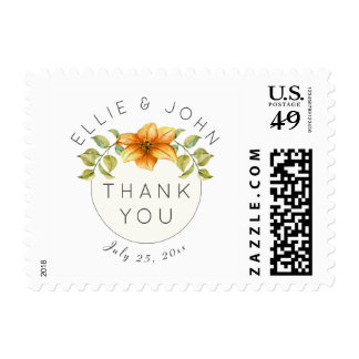 Wedding Thank You Watercolor Star Flower Postage