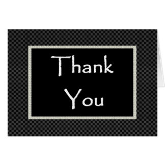 WEDDING Thank You  with Checked Border Greeting Card