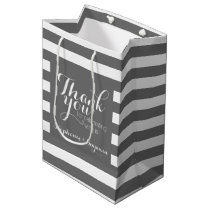 Wedding Thank You with Modern Striped Pattern Medium Gift Bag