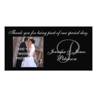 Wedding Thank You with Monogram P Names Photo Card