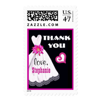 Wedding Thank You with Wedding Gown and Bouquet A2 Postage Stamp