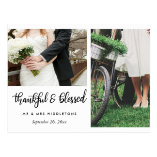 Wedding Thankful And Blessed Script | Two Photos Postcard