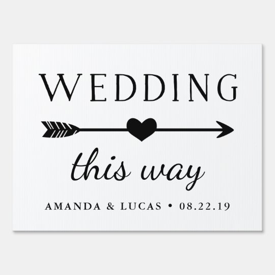 wedding this way directional yard sign. Black Bedroom Furniture Sets. Home Design Ideas