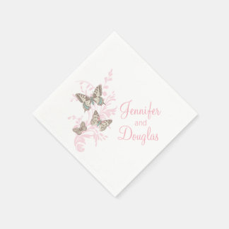 Wedding three ink butterflies pink paper napkin