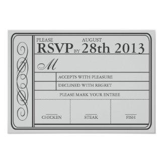 Wedding Ticket RSVP  II  Punchout Gray Card