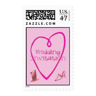 Wedding Top Hat and Stiletto Wedding Invitation Postage
